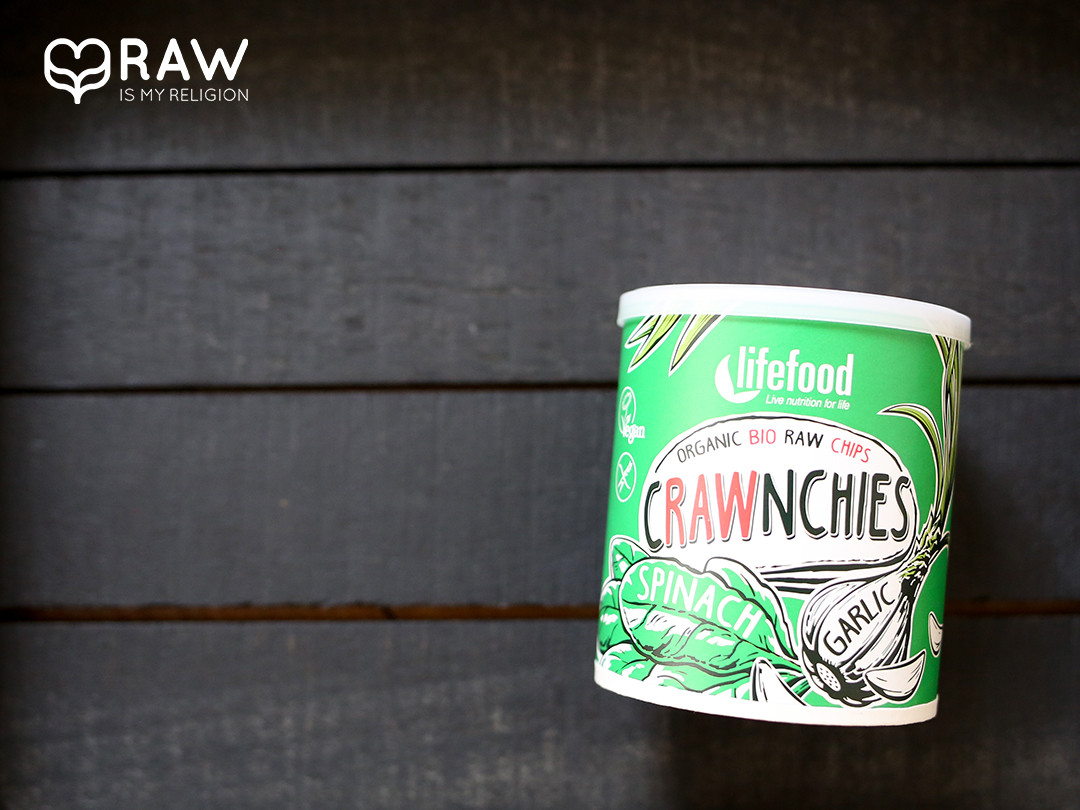 Crawnchies Spinat Knoblauch rohkostchips life food