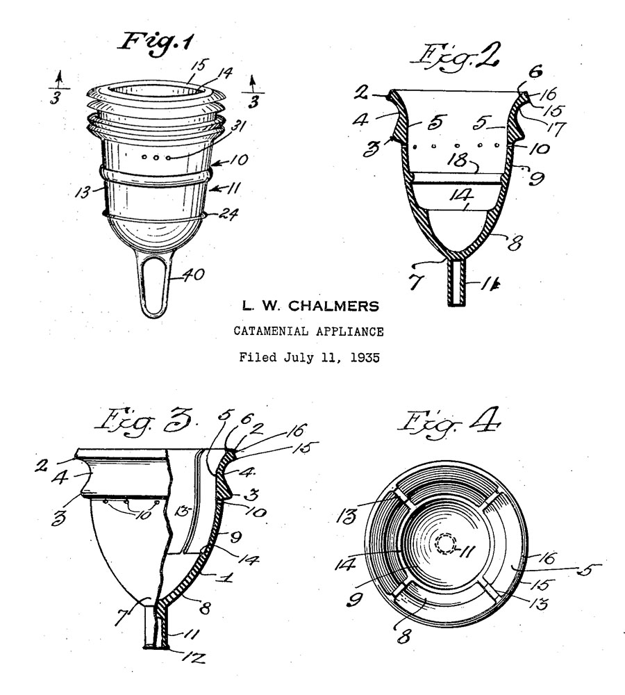 Leona Chalmers possibly produces the first commercial  menstrual cup, around 1937