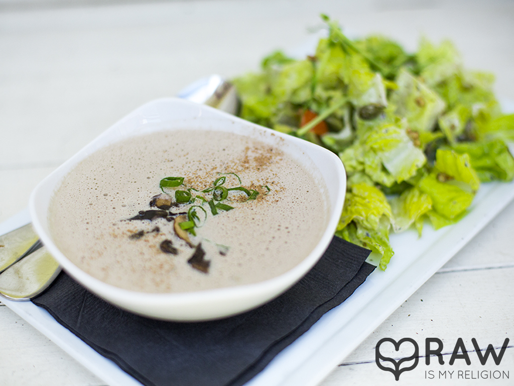 Soup and salad combo raw vegan suncafe mushroom soup