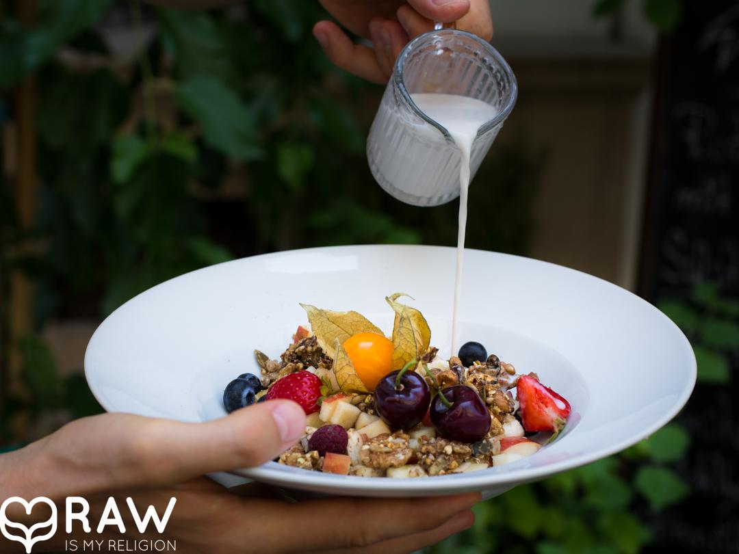 Frische Früchte, simply raw Grawnola und hausgemachter Cashewmilch.