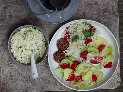 falafel salad taboule and tahini dressing