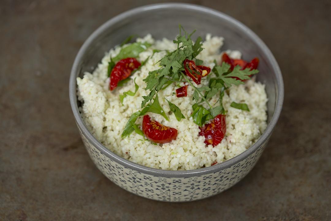 falafel salad taboulleh vegan raw cauliflower