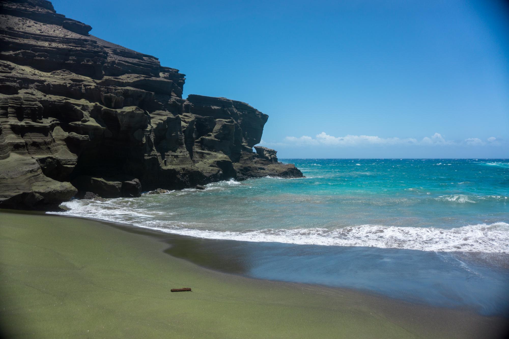 Green Sand Beach on Big Island, Hawaii