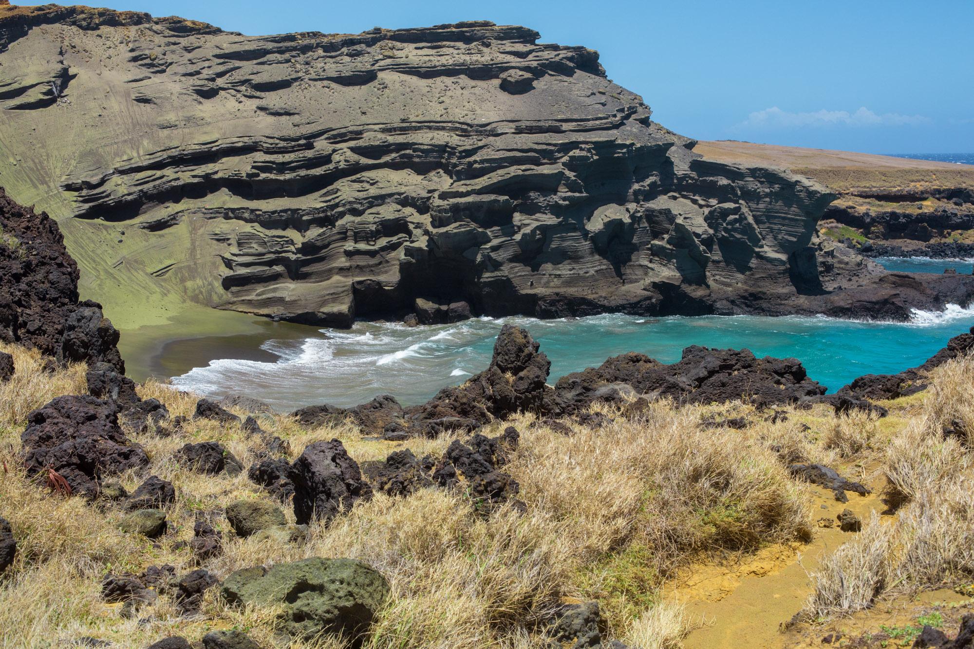 Green Sand Beach on Big Island, Hawaii Papakōlea Green Sand Beach, Naalehu,