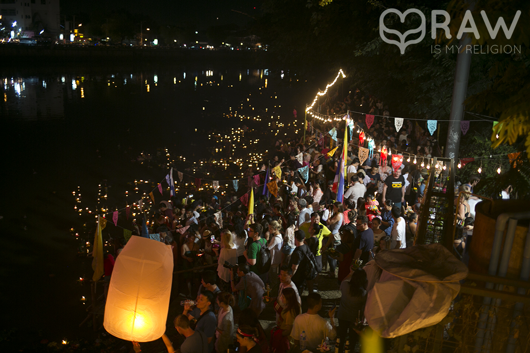 happy thai people Festival of light Loi Krathong and Yi Peng in Chiang Mai