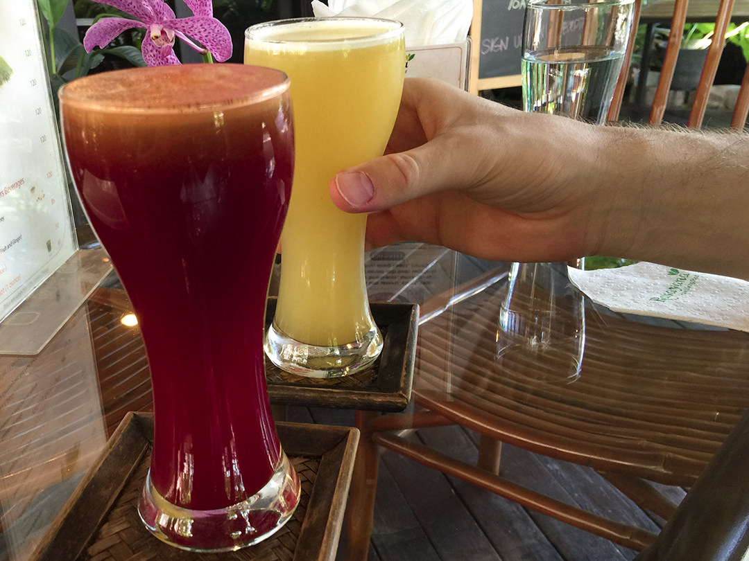 juices beetroot pineapple rasayana retreat thailand raw food