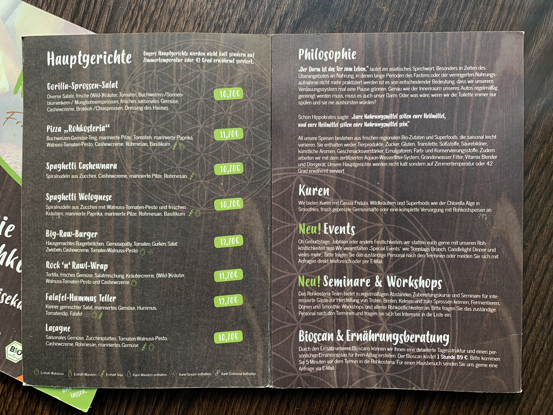 rohkosteria frankfurt karte restaurant rohkost