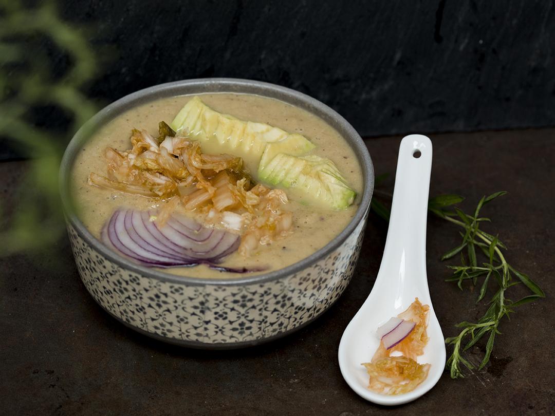 kimchi soup with avocado
