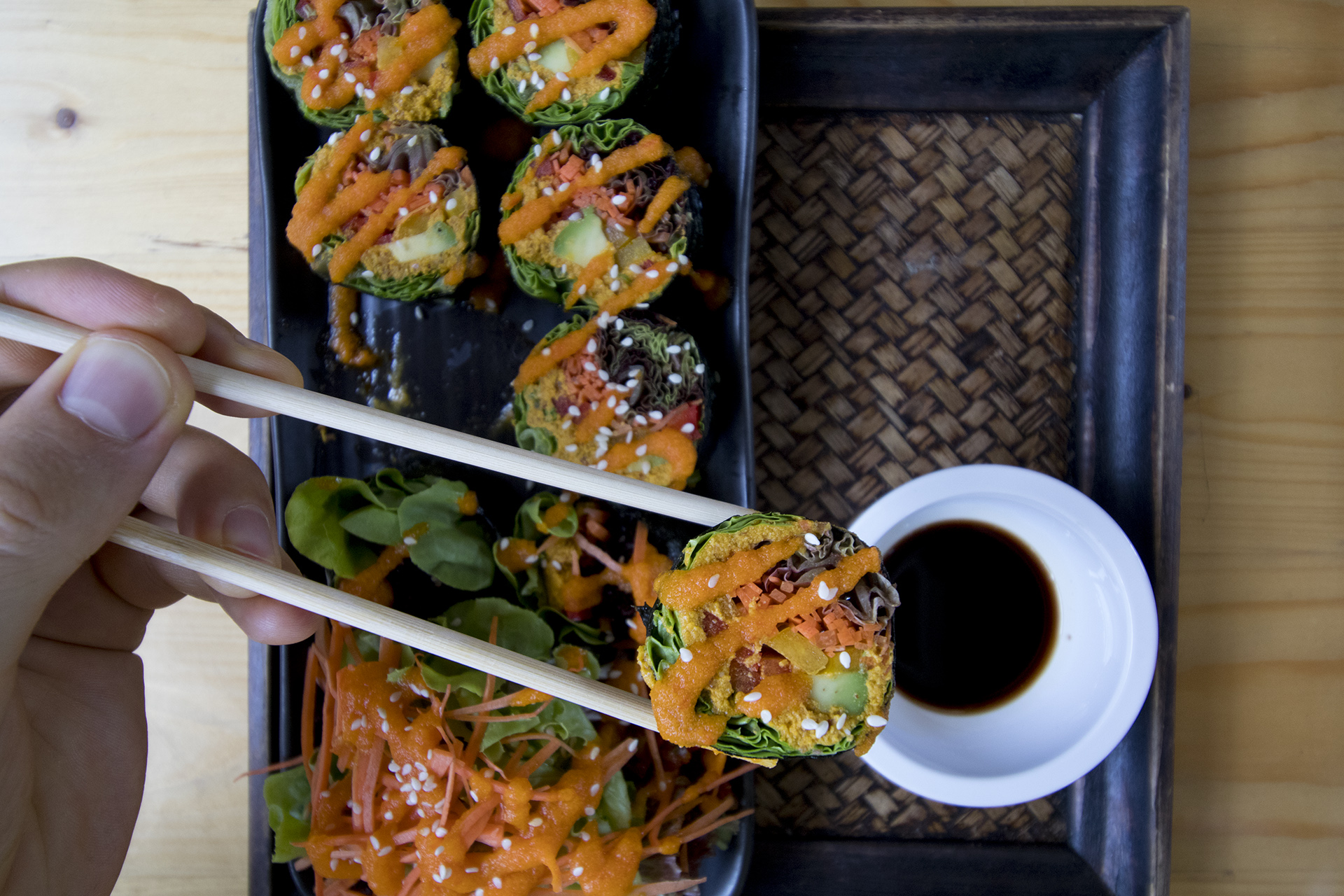 monk salmon sushi rasayana bangkok raw food restaurant