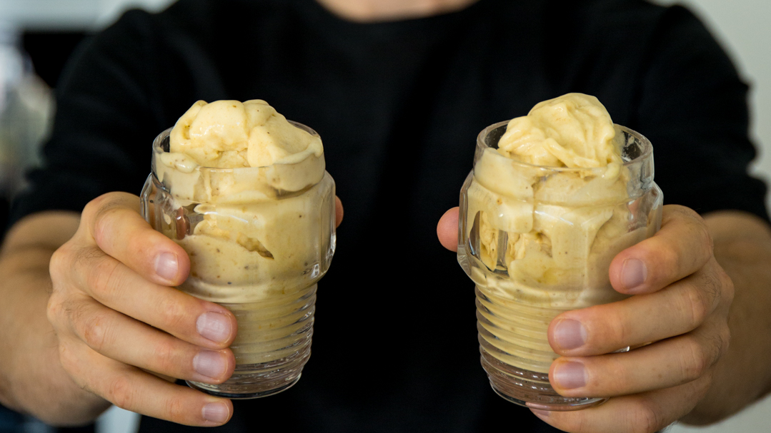Ginger flavored banana ice cream