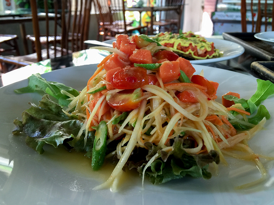 papaya salad rasayana retreat thailand raw food