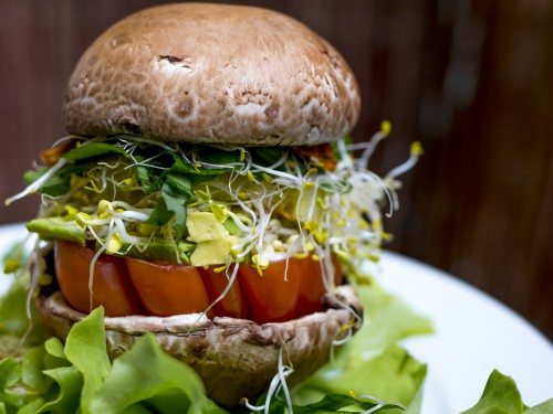 raw portobello burger in munich