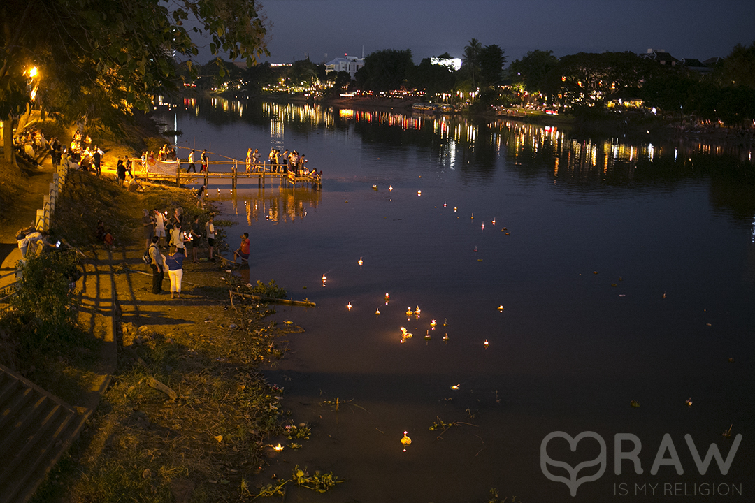river  Festival of light Loi Krathong and Yi Peng in Chiang Mai