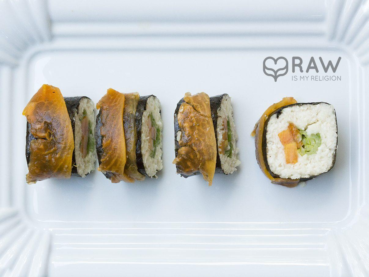 sushi lachs vegan papaya palmenherz reis rohkost