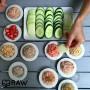 tapas with cucumbers and kohlrabi