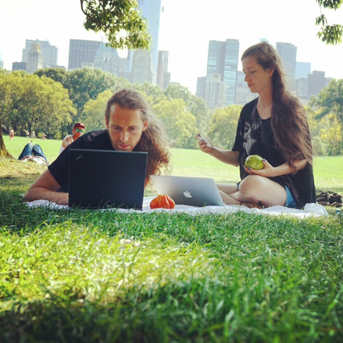 working in central park